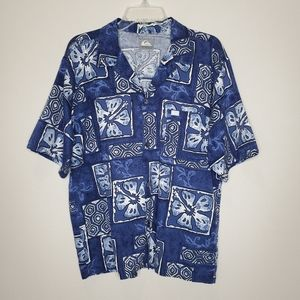 Quiksilver Navy Blue Floral Hawaiian Button Shirt